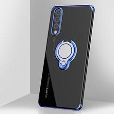Funda Silicona Ultrafina Carcasa Transparente con Magnetico Anillo de dedo Soporte C03 para Huawei P20 Pro Azul