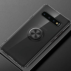 Funda Silicona Ultrafina Carcasa Transparente con Magnetico Anillo de dedo Soporte C03 para Samsung Galaxy S10 Plus Negro