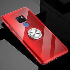 Funda Silicona Ultrafina Carcasa Transparente con Magnetico Anillo de dedo Soporte C04 para Huawei Mate 20 X 5G Rojo