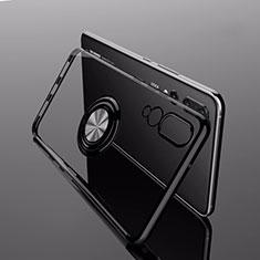 Funda Silicona Ultrafina Carcasa Transparente con Magnetico Anillo de dedo Soporte C04 para Huawei P20 Pro Negro