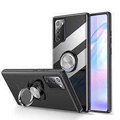 Funda Silicona Ultrafina Carcasa Transparente con Magnetico Anillo de dedo Soporte N02 para Samsung Galaxy Note 20 5G Negro