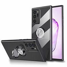 Funda Silicona Ultrafina Carcasa Transparente con Magnetico Anillo de dedo Soporte N02 para Samsung Galaxy Note 20 Ultra 5G Negro