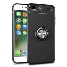 Funda Silicona Ultrafina Carcasa Transparente con Magnetico Anillo de dedo Soporte S01 para Apple iPhone 8 Plus Negro