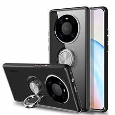 Funda Silicona Ultrafina Carcasa Transparente con Magnetico Anillo de dedo Soporte S01 para Huawei Mate 40 Negro