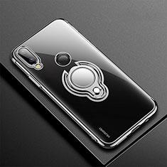 Funda Silicona Ultrafina Carcasa Transparente con Magnetico Anillo de dedo Soporte S01 para Huawei Nova 3e Negro