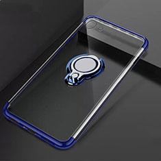 Funda Silicona Ultrafina Carcasa Transparente con Magnetico Anillo de dedo Soporte S01 para Oppo A71 Azul