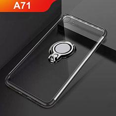 Funda Silicona Ultrafina Carcasa Transparente con Magnetico Anillo de dedo Soporte S01 para Oppo A71 Negro
