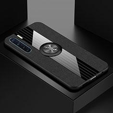 Funda Silicona Ultrafina Carcasa Transparente con Magnetico Anillo de dedo Soporte S01 para Oppo A91 Negro