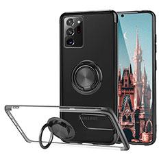 Funda Silicona Ultrafina Carcasa Transparente con Magnetico Anillo de dedo Soporte S01 para Samsung Galaxy Note 20 Ultra 5G Negro