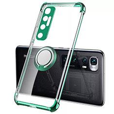 Funda Silicona Ultrafina Carcasa Transparente con Magnetico Anillo de dedo Soporte S01 para Xiaomi Mi 10 Ultra Verde