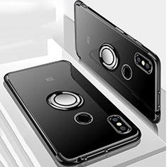 Funda Silicona Ultrafina Carcasa Transparente con Magnetico Anillo de dedo Soporte S01 para Xiaomi Mi Max 3 Negro