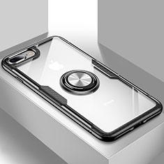Funda Silicona Ultrafina Carcasa Transparente con Soporte S01 para Apple iPhone 8 Plus Negro