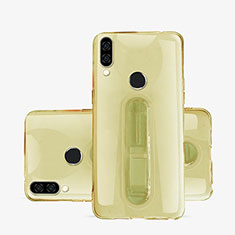 Funda Silicona Ultrafina Carcasa Transparente con Soporte S01 para Huawei P20 Lite Oro
