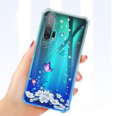 Funda Silicona Ultrafina Carcasa Transparente Flores K01 para Huawei Honor 20 Pro Azul
