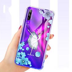 Funda Silicona Ultrafina Carcasa Transparente Flores para Huawei Honor 9X Pro Azul