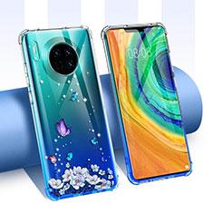 Funda Silicona Ultrafina Carcasa Transparente Flores para Huawei Mate 30E Pro 5G Azul