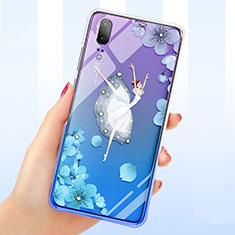Funda Silicona Ultrafina Carcasa Transparente Flores para Huawei P20 Azul