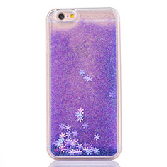 Funda Silicona Ultrafina Carcasa Transparente Flores T01 para Apple iPhone 6S Morado