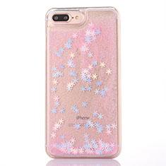 Funda Silicona Ultrafina Carcasa Transparente Flores T01 para Apple iPhone 8 Plus Rosa