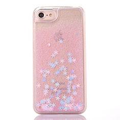 Funda Silicona Ultrafina Carcasa Transparente Flores T01 para Apple iPhone SE (2020) Rosa