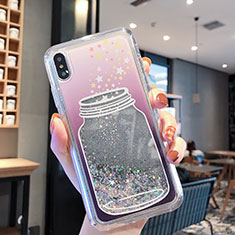 Funda Silicona Ultrafina Carcasa Transparente Flores T01 para Apple iPhone XR Gris
