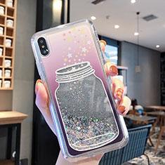Funda Silicona Ultrafina Carcasa Transparente Flores T01 para Apple iPhone Xs Max Gris