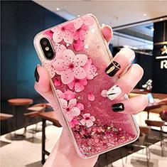 Funda Silicona Ultrafina Carcasa Transparente Flores T01 para Apple iPhone Xs Max Rosa