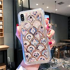 Funda Silicona Ultrafina Carcasa Transparente Flores T01 para Apple iPhone Xs Multicolor