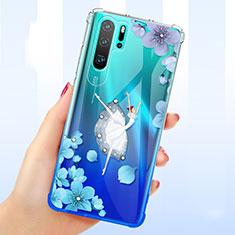 Funda Silicona Ultrafina Carcasa Transparente Flores T01 para Huawei P30 Pro Azul