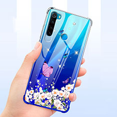 Funda Silicona Ultrafina Carcasa Transparente Flores T01 para Xiaomi Redmi Note 8 Azul