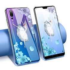 Funda Silicona Ultrafina Carcasa Transparente Flores T02 para Huawei P20 Pro Azul
