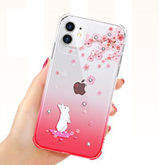 Funda Silicona Ultrafina Carcasa Transparente Flores T03 para Apple iPhone 11 Rojo