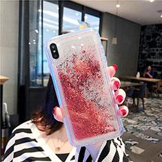 Funda Silicona Ultrafina Carcasa Transparente Flores T03 para Apple iPhone Xs Max Rojo