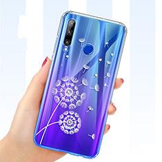 Funda Silicona Ultrafina Carcasa Transparente Flores T03 para Huawei Honor 20i Azul