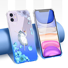 Funda Silicona Ultrafina Carcasa Transparente Flores T04 para Apple iPhone 11 Azul