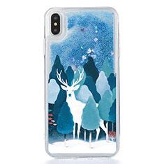 Funda Silicona Ultrafina Carcasa Transparente Flores T22 para Apple iPhone Xs Max Azul