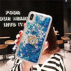 Funda Silicona Ultrafina Carcasa Transparente Flores T25 para Apple iPhone Xs Max Azul