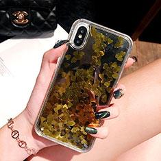 Funda Silicona Ultrafina Carcasa Transparente Flores T26 para Apple iPhone X Oro