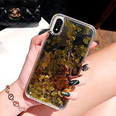 Funda Silicona Ultrafina Carcasa Transparente Flores T26 para Apple iPhone XR Oro