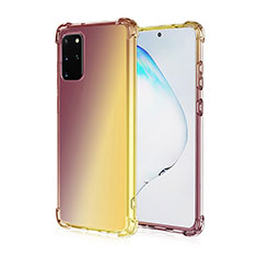 Funda Silicona Ultrafina Carcasa Transparente Gradiente G01 para Samsung Galaxy S20 Plus Marron