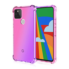 Funda Silicona Ultrafina Carcasa Transparente H01 para Google Pixel 5 Rosa