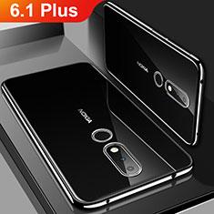 Funda Silicona Ultrafina Carcasa Transparente H01 para Nokia 6.1 Plus Negro