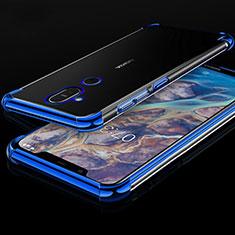 Funda Silicona Ultrafina Carcasa Transparente H01 para Nokia 7.1 Plus Azul