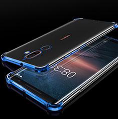 Funda Silicona Ultrafina Carcasa Transparente H01 para Nokia 7 Plus Azul