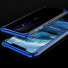 Funda Silicona Ultrafina Carcasa Transparente H01 para Nokia X5 Azul
