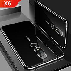 Funda Silicona Ultrafina Carcasa Transparente H01 para Nokia X6 Negro