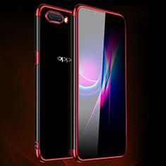 Funda Silicona Ultrafina Carcasa Transparente H01 para Oppo A12e Rojo