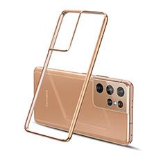 Funda Silicona Ultrafina Carcasa Transparente H01 para Samsung Galaxy S21 Ultra 5G Oro