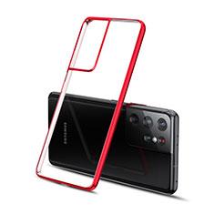 Funda Silicona Ultrafina Carcasa Transparente H01 para Samsung Galaxy S21 Ultra 5G Rojo