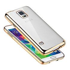 Funda Silicona Ultrafina Carcasa Transparente H01 para Samsung Galaxy S5 Duos Plus Oro